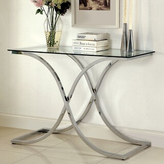 Furniture of America Artenia Modern Chrome Sofa Table