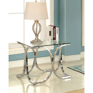 Furniture of America Artenia Modern Chrome End Table
