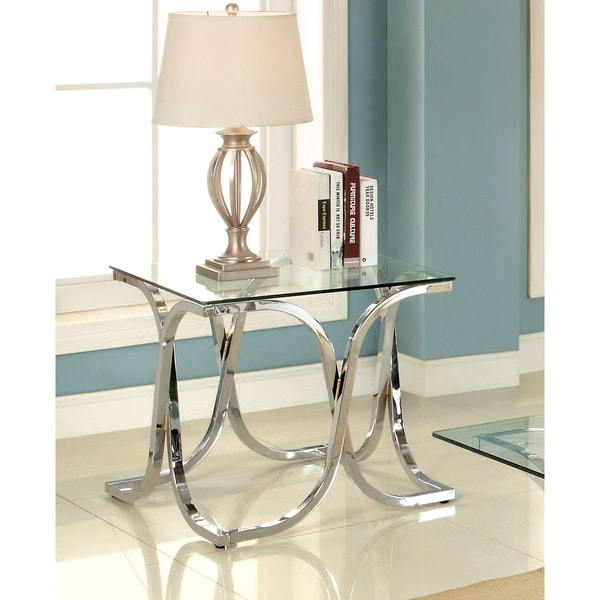 Shop Silver Orchid Brockwell Modern Chrome End Table Free Shipping