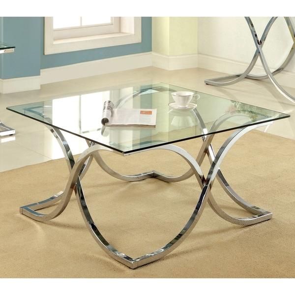 Black And Chrome Coffee Table Set: Furniture Of America Artenia Modern Chrome Coffee Table