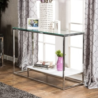 Furniture of America Deitie Modern Chrome Sofa Table