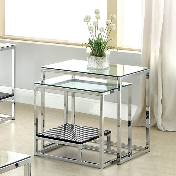 furniture of america deitie modern chrome nesting side table