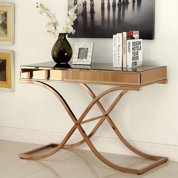 Furniture of america orelia luxury copper metal sofa table