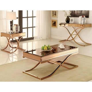 Furniture of America Orelia Luxury Copper Metal End Table