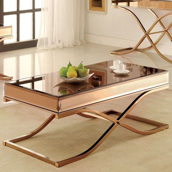 Furniture of America Orelia Luxury Copper Metal with Smoked Glass Mirror Top Coffee Table