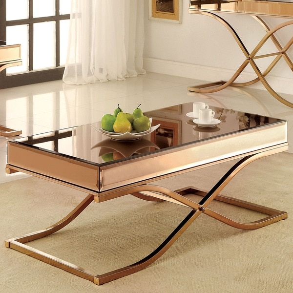 Copper Top Rectangular Coffee Table: Shop Furniture Of America Orelia Luxury Copper Metal With