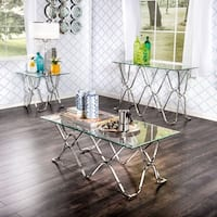 Furniture of America Tellarie Contemporary Chrome 3-Piece Accent Table Set - Silver
