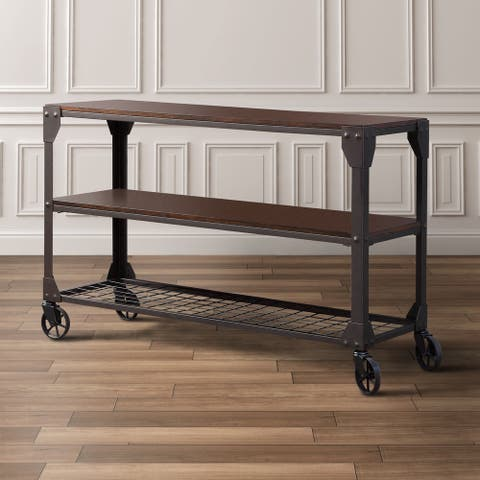 Furniture of America Gace Industrial Oak Solid Wood 2-shelf Sofa Table