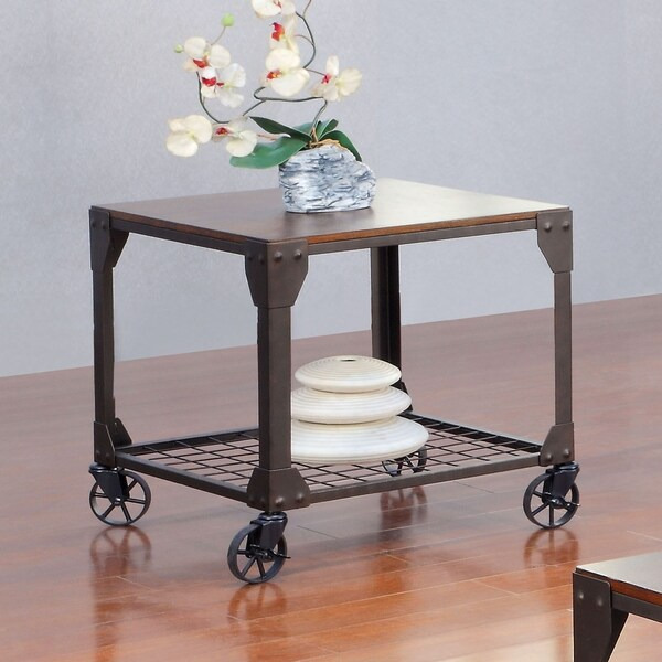 Furniture of America Gace Industrial Oak Metal Casters End Table