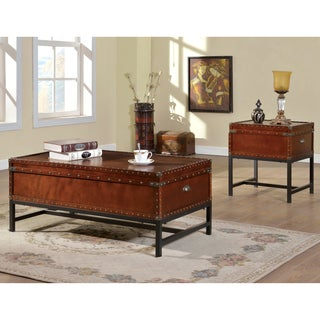 furniture of america dravens industrial trunk style 2piece accent table set