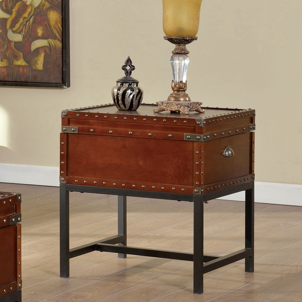 Furniture of America Dravens Industrial Trunk Style End