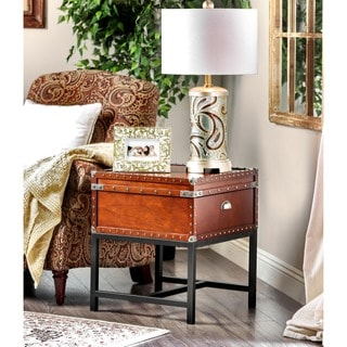Furniture of America Dravens Industrial Trunk Style End Table