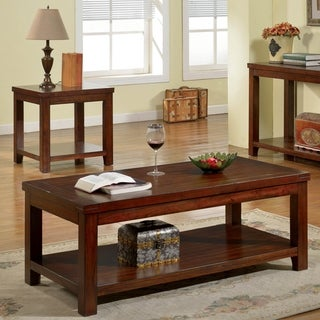 Furniture of America Llat Transitional Cherry 2-piece Accent Table Set
