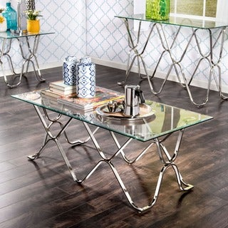 Furniture of America Tellarie Contemporary Chrome Coffee Table