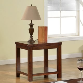 Furniture of America Llat Transitional Cherry Solid Wood End Table