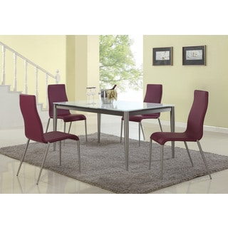 Christopher Knight Home Reina Starphire Glass Dining Set with Purple Chairs (Set of 5)