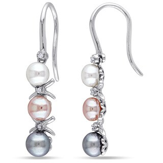 Miadora Sterling Silver Cultured Freshwater Pearl and Diamond Accent Dangle Earrings (4-5.5 mm)