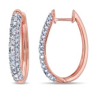 Miadora 10k Rose Gold Blue Topaz Hoop Earrings