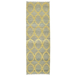 Handmade Natural Fiber Cayon Grey Lattice Rug (2'6 x 8'0)