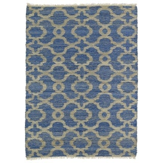 Handmade Natural Fiber Cayon Blue Trellis Rug (7'6 x 9'0)