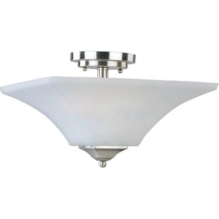 Maxim Aurora Nickel Steel 2-light Semi-flush Mount