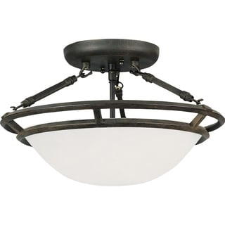 Maxim Stratus Bronze Iron 3-light Semi-flush Mount