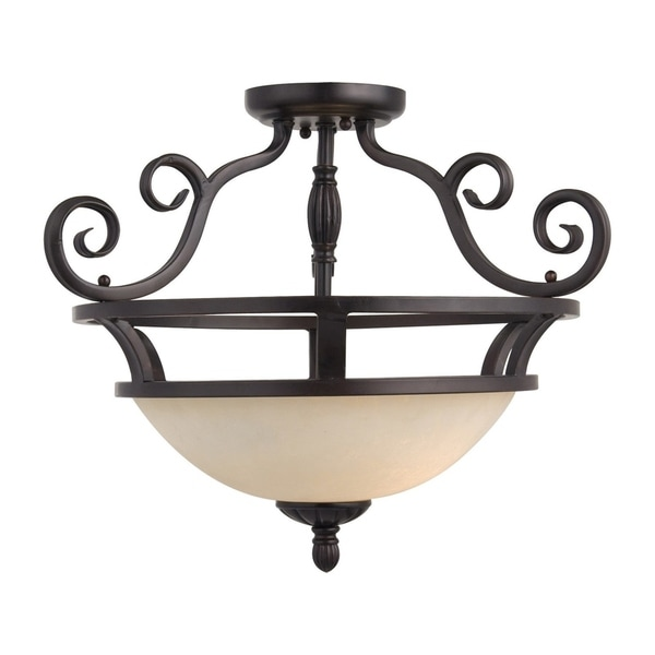 Maxim Manor Bronze Iron 2-light Semi-flush Mount