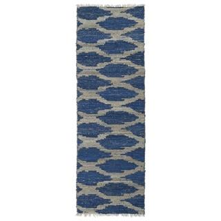 Handmade Cayon Natural Fiber Navy Lattice Rug (2' x 6')