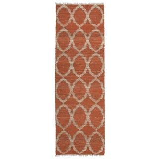 "Handmade Natural Fiber Cayon Rust Lattice Rug - 2'6"" x 8'"