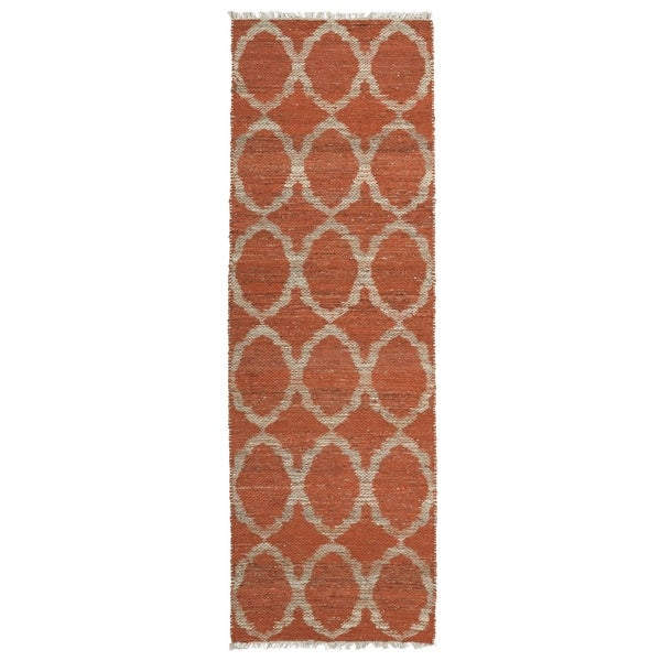 Handmade Natural Fiber Cayon Rust Lattice Rug - 2'6 x 8'
