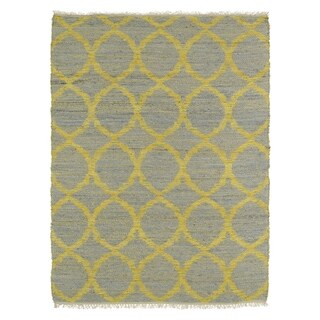 Handmade Natural Fiber Cayon Grey Lattice Rug (7'6 x 9'0)
