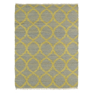 Handmade Natural Fiber Cayon Grey Lattice Rug (8'0 x 11'0)