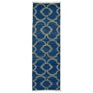 Handmade Natural Fiber Cayon Blue Trellis Rug (2'0 x 6'0)