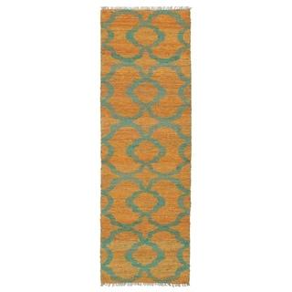 Handmade Natural Fiber Cayon Orange Trellis Rug (2'0 x 6'0)
