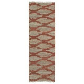 Natural Fiber Handmade Cayon Paprika Lattice Rug (2'0 x 6'0)