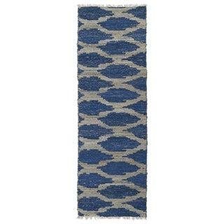 Handmade Natural Fiber Cayon Navy Lattice Rug (2'6 x 8'0)