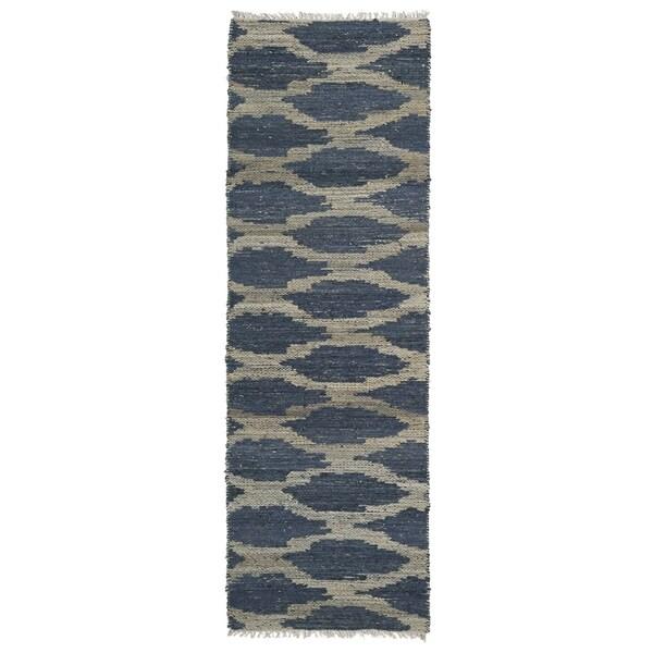 Handmade Cayon Natural Fiber Denim Lattice Rug (2'0 x 6'0)