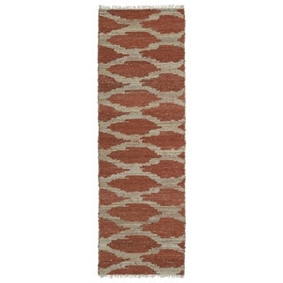 Handmade Natural Fiber Cayon Paprika Lattice Rug (2'0 x 6'0)