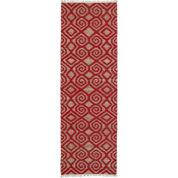 Handmade Cayon Natural Fiber Red Diamonds Rug