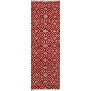 Handmade Cayon Natural Fiber Red Diamonds Rug (2'6 x 8'0)