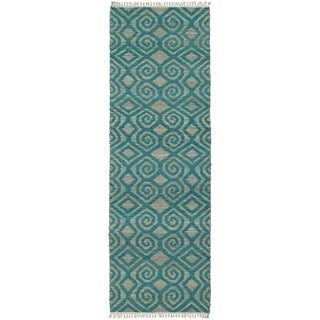Handmade Natural Fiber Teal Diamonds Cayon Rug (2'6 x 8'0)