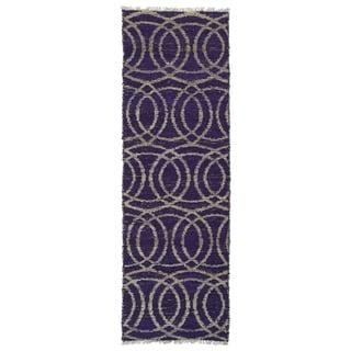 Handmade Natural Fiber Purple Circles Cayon Rug - 2' x 6'