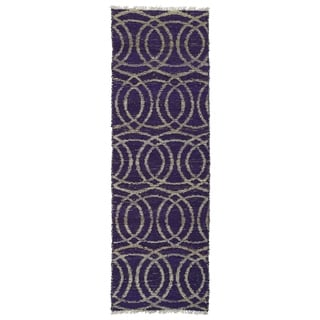 Handmade Natural Fiber Purple Circles Cayon Rug (2' x 6')