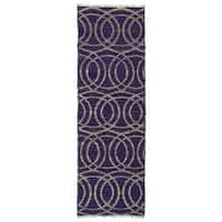 Handmade Purple Circles Natural Fiber Cayon Rug - 2'6 x 8'0