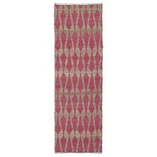 Handmade Natural Fiber Cayon Pink Rug (2'6 x 8'0)