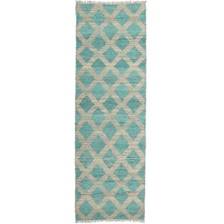 Handmade Natural Fiber Cayon Teal Lattice Rug (2'0 x 6'0)