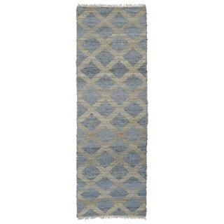 Handmade Natural Fiber Cayon Slate Lattice Rug (2'6 x 8'0)