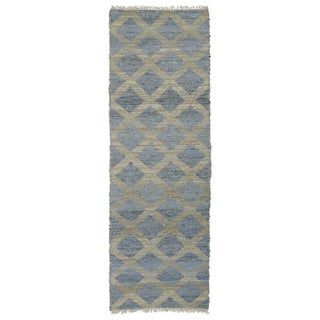 Handmade Natural Fiber Cayon Slate Lattice Rug (2'0 x 6'0)