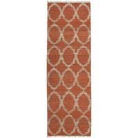 Handmade Natural Fiber Cayon Rust Lattice Rug (2'0 x 6'0)