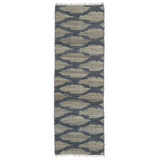Handmade Natural Fiber Cayon Denim Lattice Rug (2'6 x 8'0)